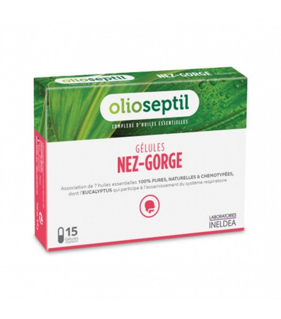Preparado aceites esenciales nariz garganta OLIOSEPTIL 15 capsulas