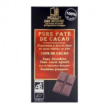 Chocolate 100% cacao MOULINS DES MOINES 100 gr BIO