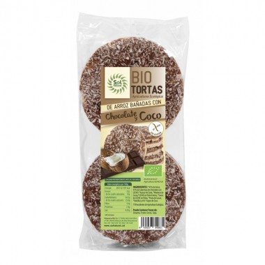 Tortas arroz chocolate coco (6 ud) SOL NATURAL BIO 100 gr BIO
