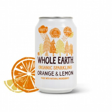 Refresco naranja y limon sin azucar WHOLE EARTH 330 ml BIO