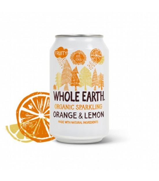 Refresco naranja y limon sin azucar WHOLE EARTH 330 ml BIO
