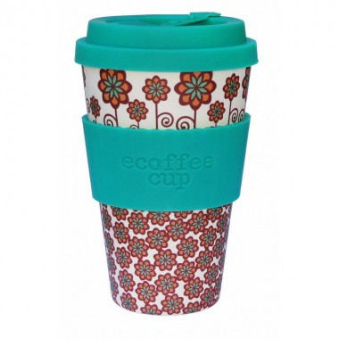 Vaso de bambu stockholm (turquesa flores) Ref.122 ALTERNATIVA 3 (400ml)