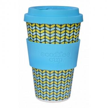 Vaso de bambu norweaven (azul con tonos azules y amarillos) Ref.117 ALTERNATIVA 3 (400 ml)