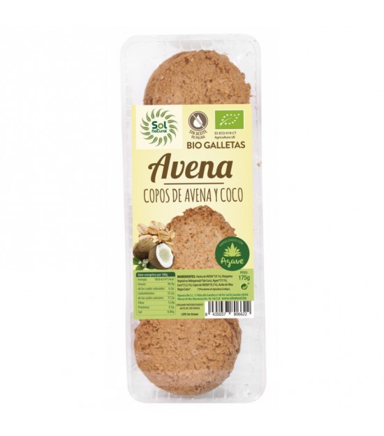 Galleta avena coco agave SOL NATURAL 175 gr BIO