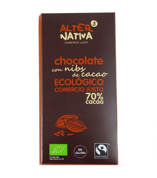 Chocolate 70% nibs chocolate ALTERNATIVA 3 (80 gr) BIO