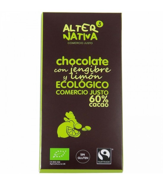 Chocolate 60% jengibre limon ALTERNATIVA 3 (80 gr) BIO
