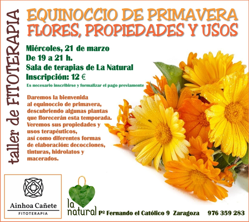 Cartel taller de fitoterapia La Natural